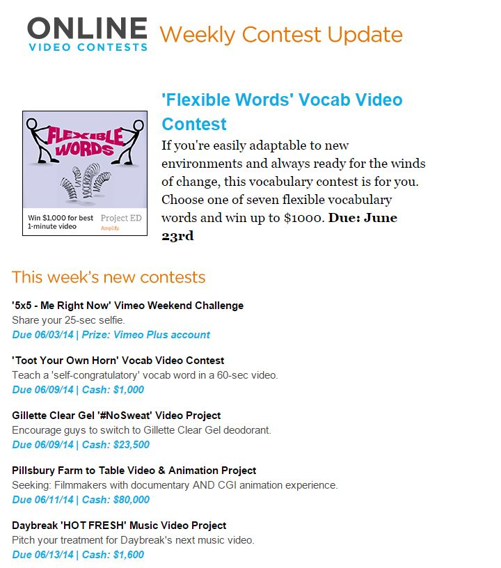 Online Video Contests - #1 most updated video contest site